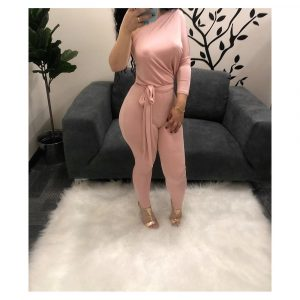 ONE SLEEVE FRONT TIE JUMPSUIT