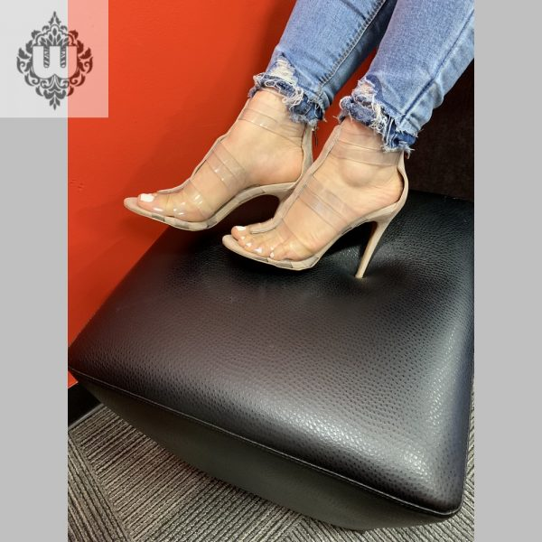 STRAPPY CLEAR STRAP HEELS