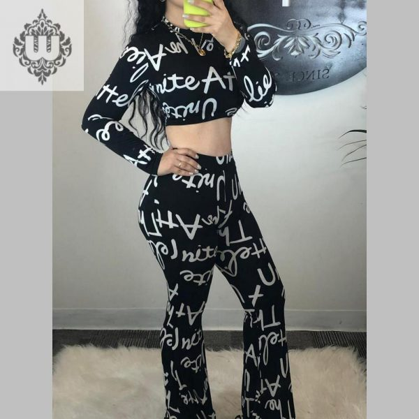 LETTERING PANTS AND TOP SET